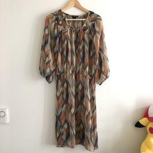 Banana Republic Long Sleeve Sheer Sheath Dress